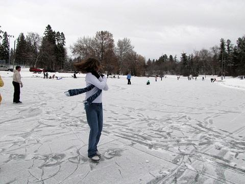E spinning on ice