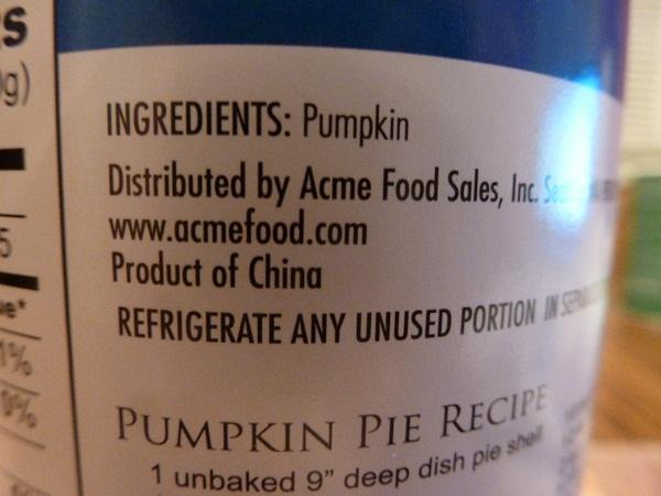 canned pumpkin label
