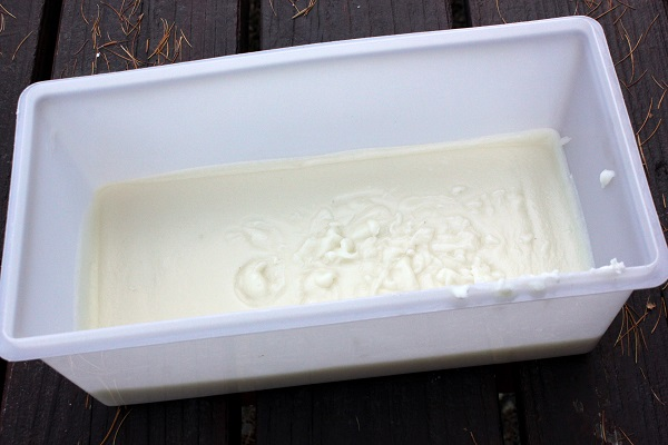 Lye Soap in Plastic Container