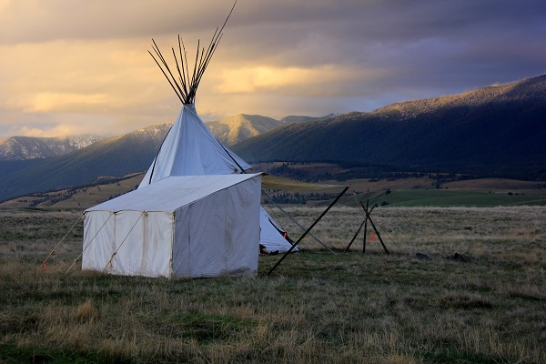 Teepee against an evening sky