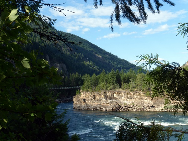 Peek of Swinging Bridge.Kootenai Falls