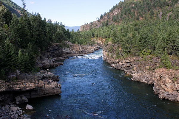 View to the west on Swinging Bridge.Kootenai Falls