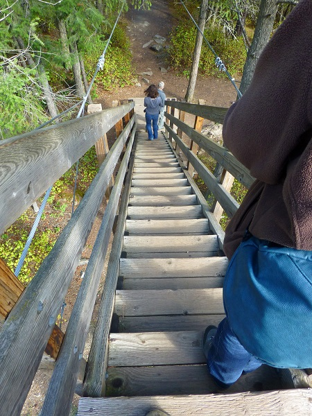 down stairs from swinging bridge Kootenai Falls