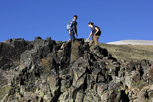M.E. on rocks